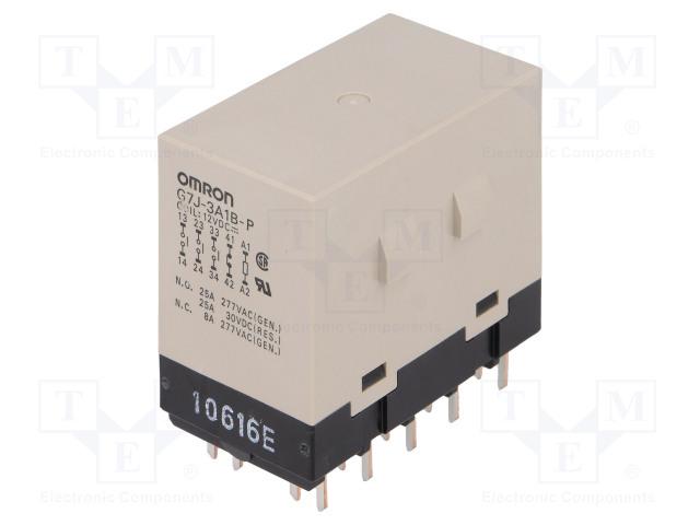 G7J-3A1B-P 12VDC_Relay: electromagnetic; 3PST-NO + SPST-NC; Ucoil:12VDC; 25A; 50mΩ