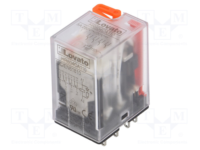 HR604CA110_Relay: electromagnetic; 4PDT; Ucoil:110VAC; 5A/250VAC; 5A/30VDC