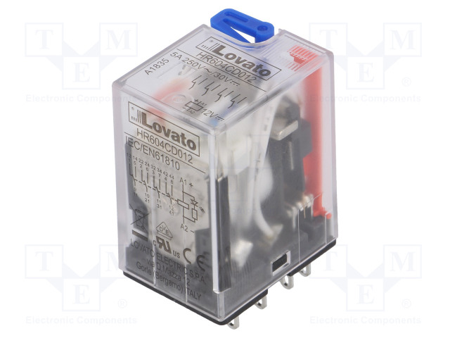 HR604CD012_Relay: electromagnetic; 4PDT; Ucoil:12VDC; 5A/250VAC; 5A/30VDC; 5A