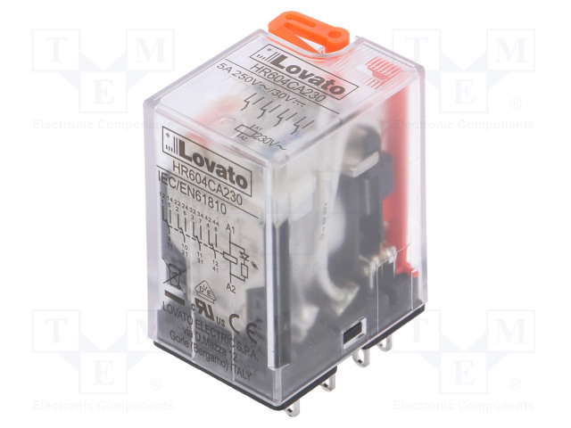 HR604CA230_Relay: electromagnetic; 4PDT; Ucoil:230VAC; 5A/250VAC; 5A/30VDC