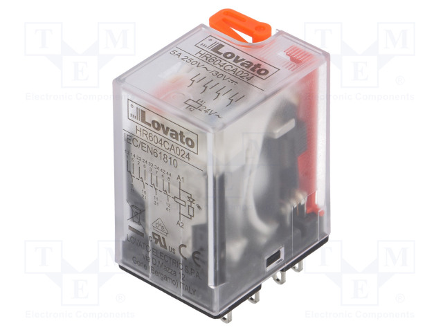 HR604CA024_Relay: electromagnetic; 4PDT; Ucoil:24VAC; 5A/250VAC; 5A/30VDC; 5A