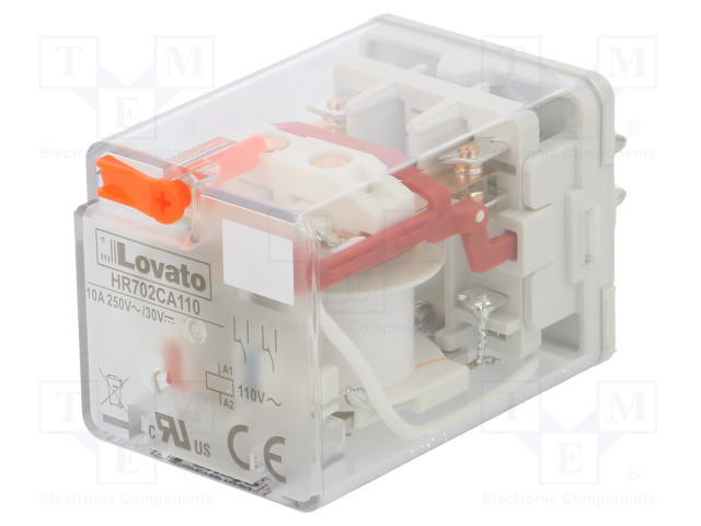 HR702CA110_Relay: electromagnetic; DPDT; Ucoil:110VAC; 10A/250VAC; 10A/30VDC