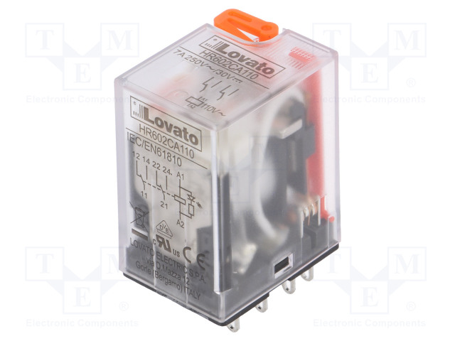 HR602CA110_Relay: electromagnetic; DPDT; Ucoil:110VAC; 7A/250VAC; 7A/30VDC