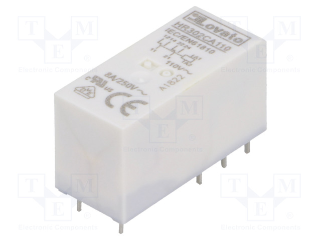 HR302CA110_Relay: electromagnetic; DPDT; Ucoil:110VAC; 8A/250VAC; 8A/30VDC