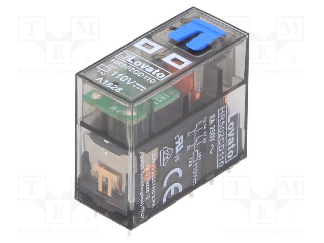 HR502CD110_Relay: electromagnetic; DPDT; Ucoil:110VDC; 8A/250VAC; 8A/30VDC