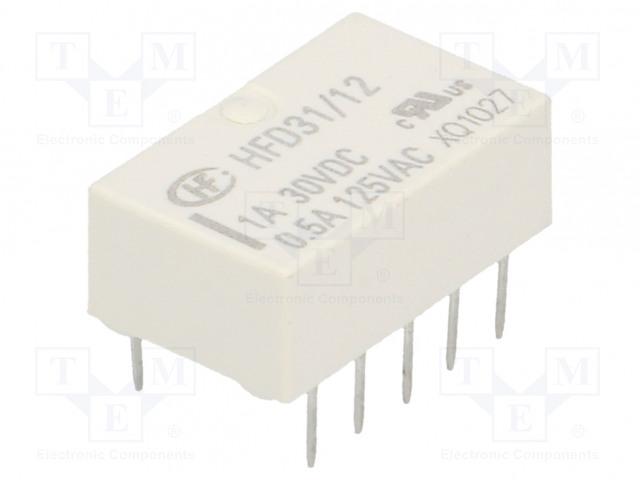 HFD31/12_Relay: electromagnetic; DPDT; Ucoil:12VDC; 0.5A/125VAC; 1A/30VDC