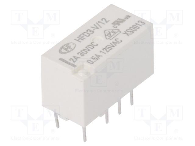 HFD3-V/12_Relay: electromagnetic; DPDT; Ucoil:12VDC; 0.5A/125VAC; 2A/30VDC