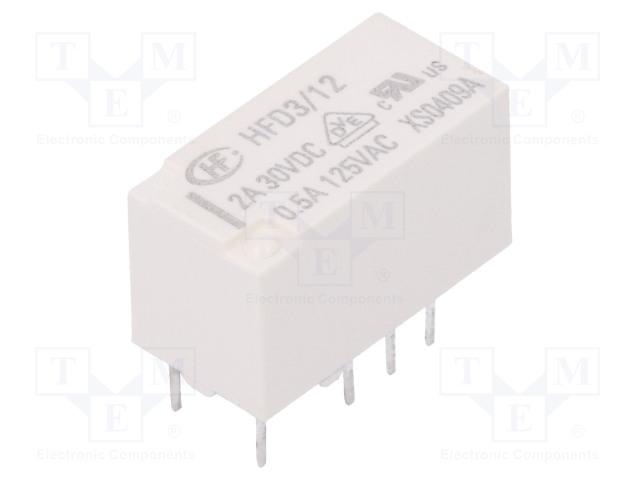 HFD3/12_Relay: electromagnetic; DPDT; Ucoil:12VDC; 0.5A/125VAC; 2A/30VDC