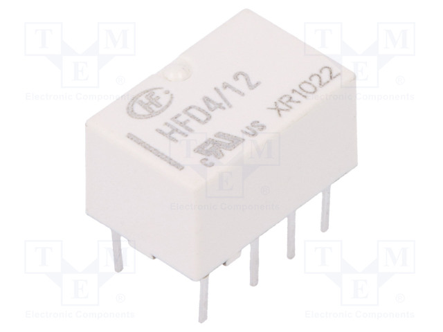 HFD4/12_Relay: electromagnetic; DPDT; Ucoil:12VDC; 0.5A/125VAC; 2A/30VDC