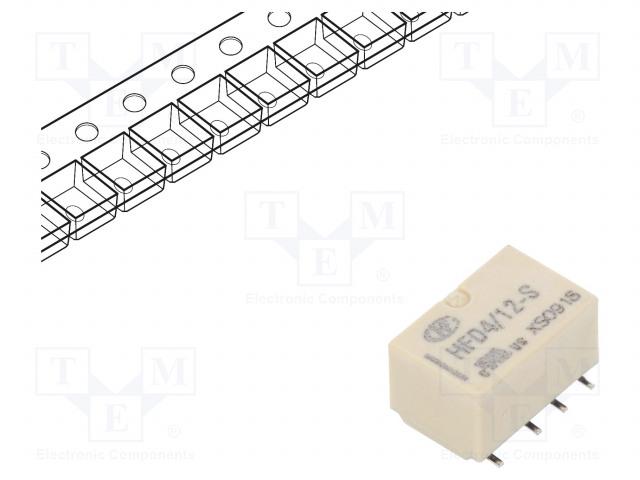 HFD4/12-SR_Relay: electromagnetic; DPDT; Ucoil:12VDC; 0.5A/125VAC; 2A/30VDC