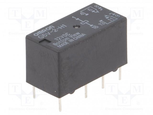 G5V-2-H1 12VDC_Relay: electromagnetic; DPDT; Ucoil:12VDC; 0.5A/125VAC; 2A/30VDC