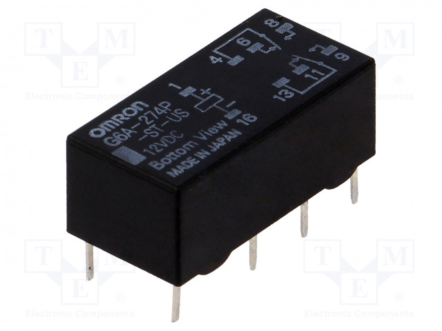 G6A-274P-ST-US 12VDC_Relay: electromagnetic; DPDT; Ucoil:12VDC; 0.5A/125VAC; 2A/30VDC