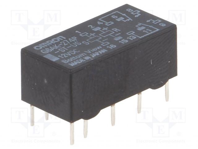 G6AK-274P-ST-US 12VDC_Relay: electromagnetic; DPDT; Ucoil:12VDC; 0.5A/125VAC; 2A/30VDC
