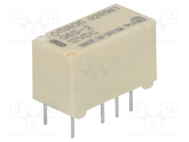 G6S-2 12VDC_Relay: electromagnetic; DPDT; Ucoil:12VDC; 0.5A/125VAC; 2A/30VDC