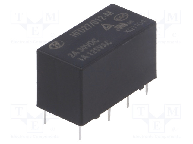 HFD27/012-M_Relay: electromagnetic; DPDT; Ucoil:12VDC; 1A/125VAC; 2A/30VDC; 2A