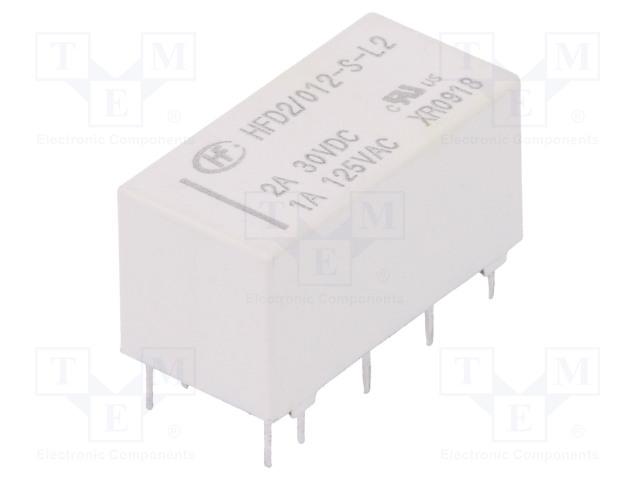 HFD2/012-S-L2_Relay: electromagnetic; DPDT; Ucoil:12VDC; 1A/125VAC; 3A/30VDC; 3A