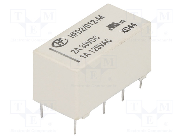 HFD2/012-M_Relay: electromagnetic; DPDT; Ucoil:12VDC; 1A/125VAC; 3A/30VDC; 3A