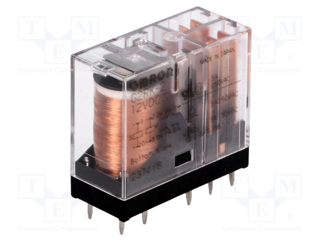 G2RK-2 12VDC_Relay: electromagnetic; DPDT; Ucoil:12VDC; 3A/250VAC; 3A/30VDC