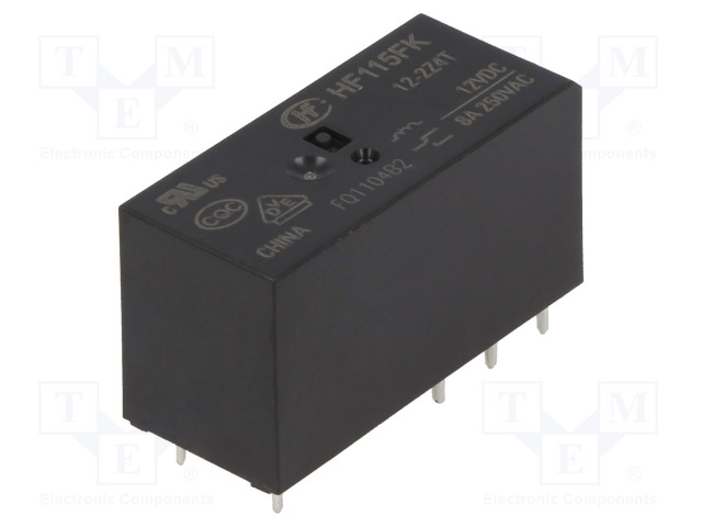 HF115FK/12-2Z4T_Relay: electromagnetic; DPDT; Ucoil:12VDC; 8A/250VAC; 8A; toff:5ms