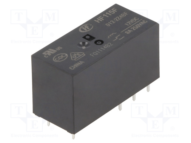 HF115F/012-2Z4B_Relay: electromagnetic; DPDT; Ucoil:12VDC; 8A/250VAC; 8A/24VDC; 8A