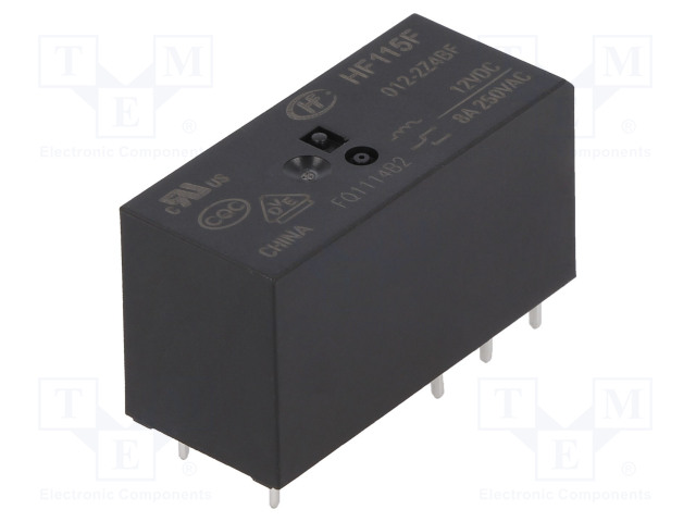 HF115F/012-2Z4BF_Relay: electromagnetic; DPDT; Ucoil:12VDC; 8A/250VAC; 8A/24VDC; 8A
