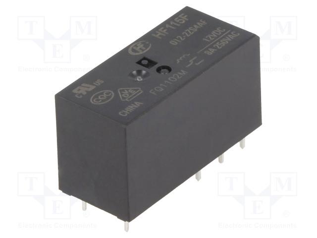 HF115F/012-2ZS4AF_Relay: electromagnetic; DPDT; Ucoil:12VDC; 8A/250VAC; 8A/24VDC; 8A