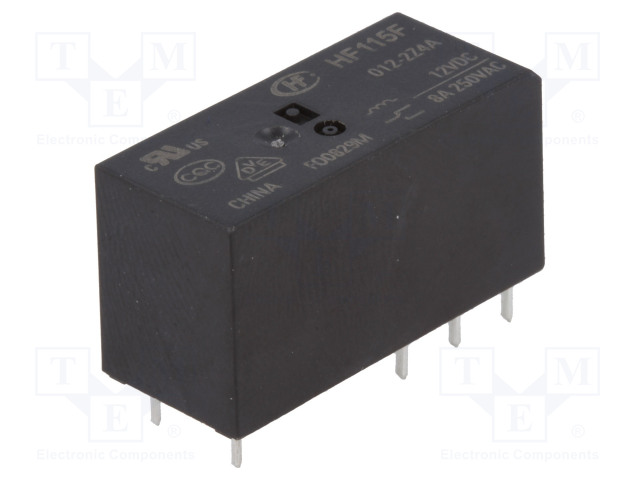 HF115F/012-2Z4A_Relay: electromagnetic; DPDT; Ucoil:12VDC; 8A/250VAC; 8A/24VDC; 8A
