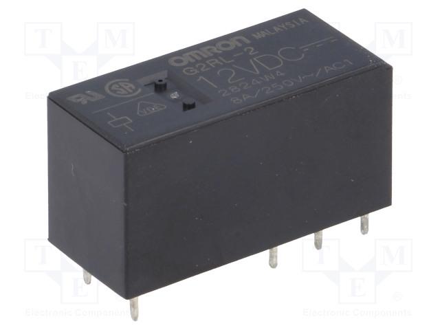 G2RL-2 12VDC_Relay: electromagnetic; DPDT; Ucoil:12VDC; 8A/250VAC; 8A/24VDC