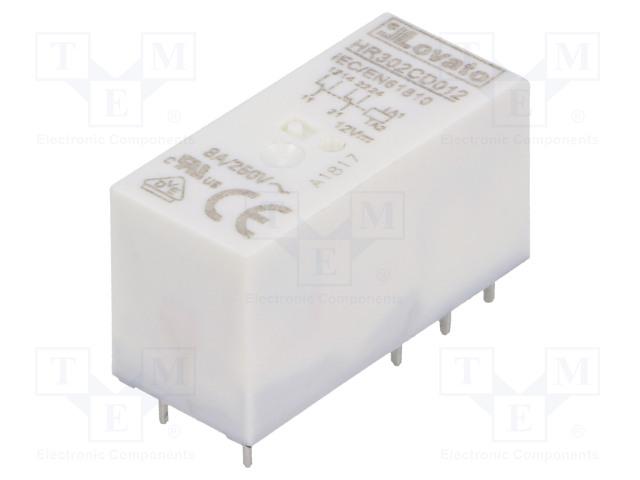 HR302CD012_Relay: electromagnetic; DPDT; Ucoil:12VDC; 8A/250VAC; 8A/30VDC; 8A