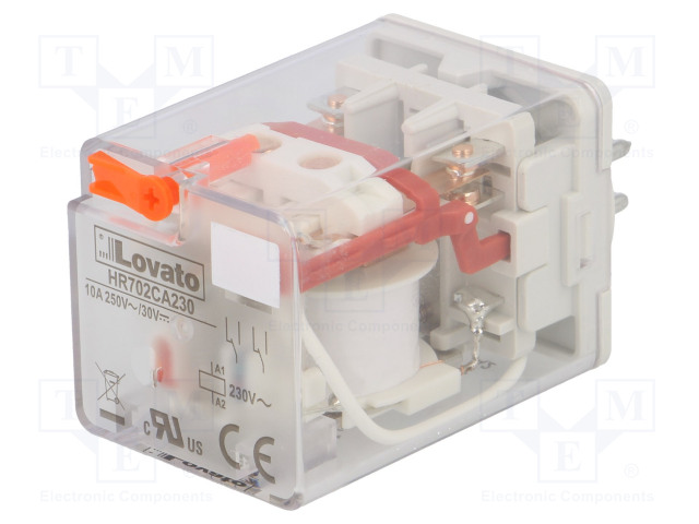 HR702CA230_Relay: electromagnetic; DPDT; Ucoil:230VAC; 10A/250VAC; 10A/30VDC