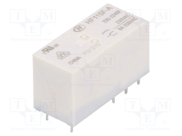 HF115F-A/230-2Z4BF_Relay: electromagnetic; DPDT; Ucoil:230VAC; 8A/250VAC; 8A/24VDC