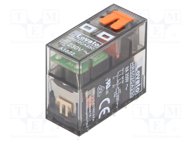 HR502CA230_Relay: electromagnetic; DPDT; Ucoil:230VAC; 8A/250VAC; 8A/30VDC