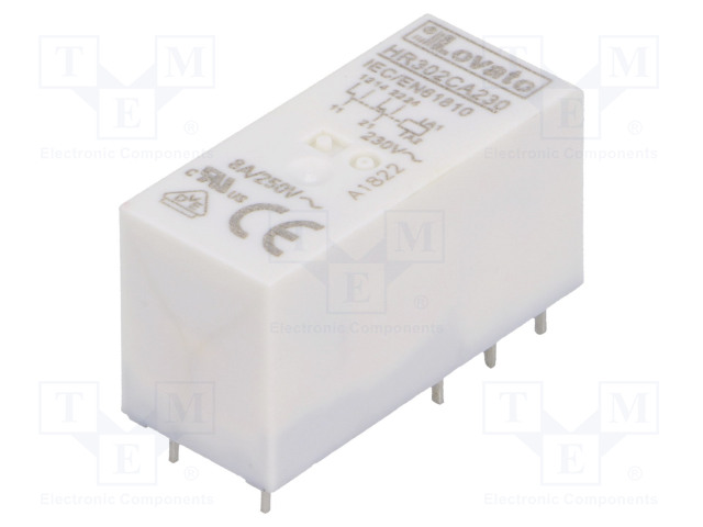 HR302CA230_Relay: electromagnetic; DPDT; Ucoil:230VAC; 8A/250VAC; 8A/30VDC