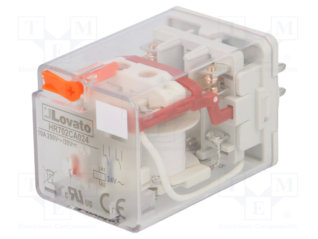 HR702CA024_Relay: electromagnetic; DPDT; Ucoil:24VAC; 10A/250VAC; 10A/30VDC