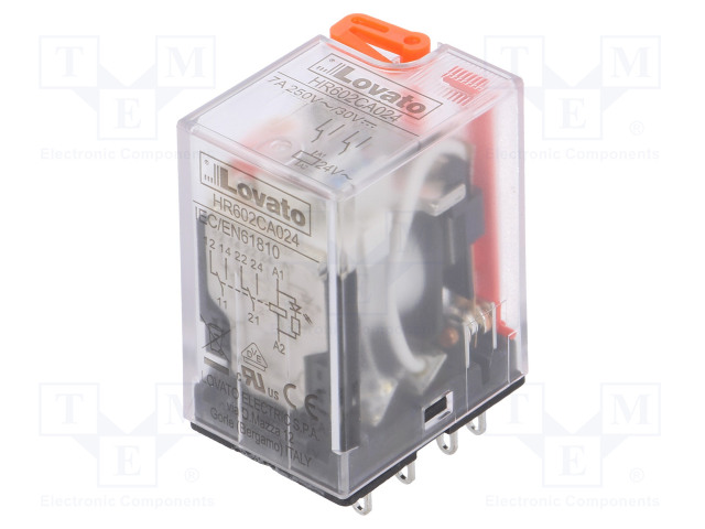 HR602CA024_Relay: electromagnetic; DPDT; Ucoil:24VAC; 7A/250VAC; 7A/30VDC; 7A