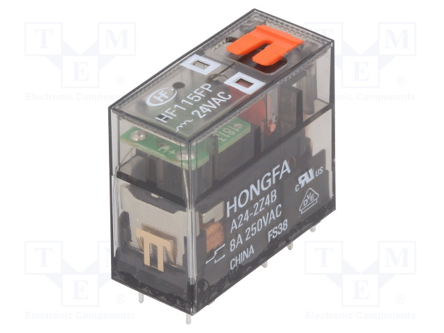 HF115FP/A24-2Z4B_Relay: electromagnetic; DPDT; Ucoil:24VAC; 8A/250VAC; 8A; toff:8ms