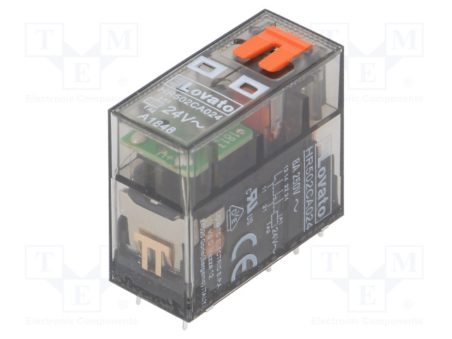 HR502CA024_Relay: electromagnetic; DPDT; Ucoil:24VAC; 8A/250VAC; 8A/30VDC; 8A