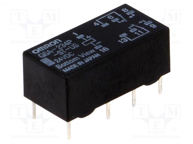 G6A-234P-ST-US 24VDC_Relay: electromagnetic; DPDT; Ucoil:24VDC; 0.3A/125VAC; 1A/30VDC