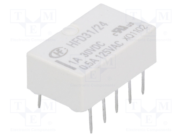 HFD31/24_Relay: electromagnetic; DPDT; Ucoil:24VDC; 0.5A/125VAC; 1A/30VDC