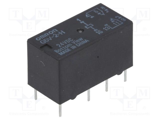 G5V-2-H 24VDC_Relay: electromagnetic; DPDT; Ucoil:24VDC; 0.5A/125VAC; 2A/30VDC