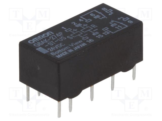G6AK-274P-ST-US 24VDC_Relay: electromagnetic; DPDT; Ucoil:24VDC; 0.5A/125VAC; 2A/30VDC