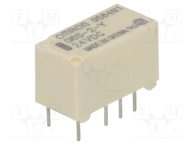 G6S-2-Y 24VDC_Relay: electromagnetic; DPDT; Ucoil:24VDC; 0.5A/125VAC; 2A/30VDC