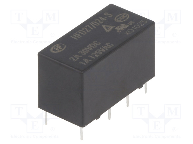 HFD27/024-S_Relay: electromagnetic; DPDT; Ucoil:24VDC; 1A/125VAC; 2A/30VDC; 2A