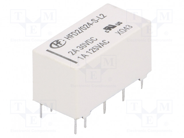 HFD2/024-S-L2_Relay: electromagnetic; DPDT; Ucoil:24VDC; 1A/125VAC; 3A/30VDC; 3A