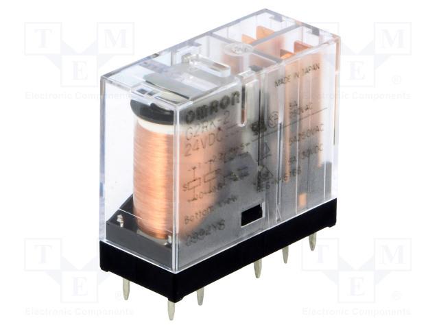 G2RK-2 24VDC_Relay: electromagnetic; DPDT; Ucoil:24VDC; 3A/250VAC; 3A/30VDC