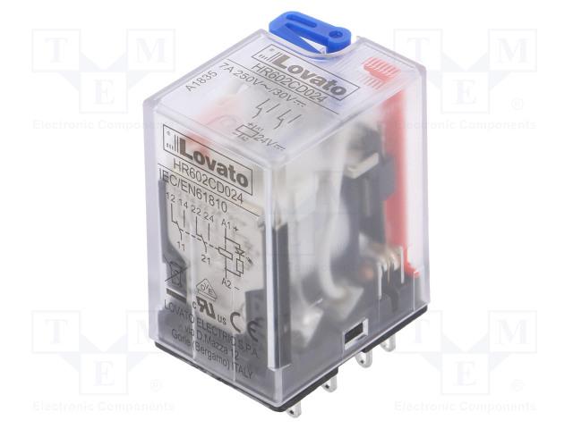 HR602CD024_Relay: electromagnetic; DPDT; Ucoil:24VDC; 7A/250VAC; 7A/30VDC; 7A