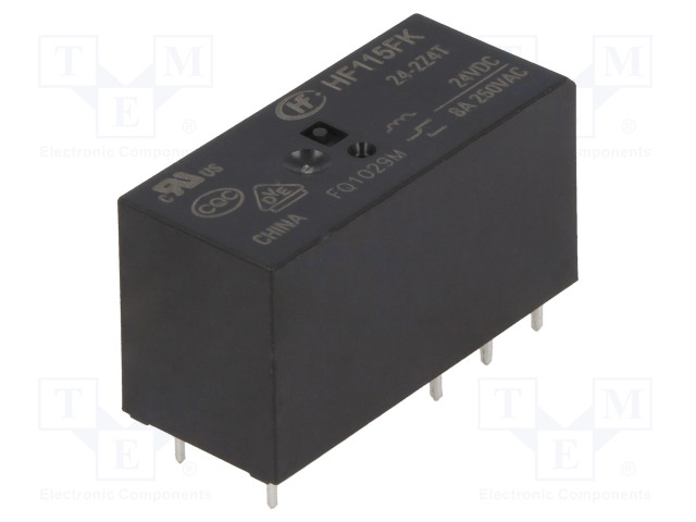 HF115FK/24-2Z4T_Relay: electromagnetic; DPDT; Ucoil:24VDC; 8A/250VAC; 8A; toff:5ms