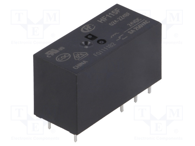 HF115F/024-2Z4BF_Relay: electromagnetic; DPDT; Ucoil:24VDC; 8A/250VAC; 8A/24VDC; 8A