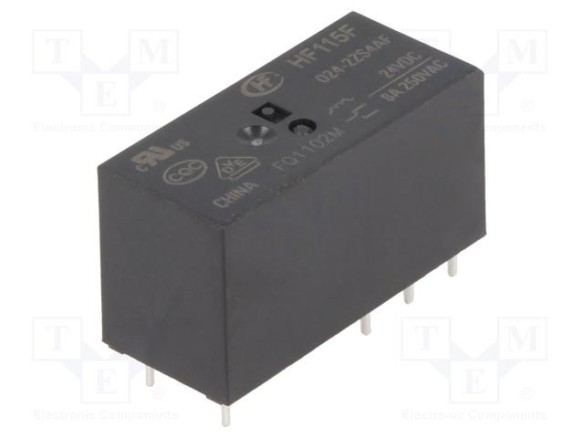 HF115F/024-2ZS4AF_Relay: electromagnetic; DPDT; Ucoil:24VDC; 8A/250VAC; 8A/24VDC; 8A