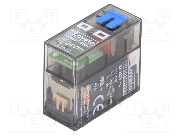 HR502CD024_Relay: electromagnetic; DPDT; Ucoil:24VDC; 8A/250VAC; 8A/30VDC; 8A